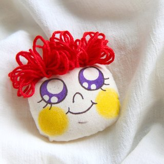 Original red hair style hand-painted brooch