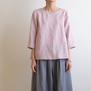 Daily hand-made suit retro gray pink air seven-quarter sleeve umbrella blouse linen