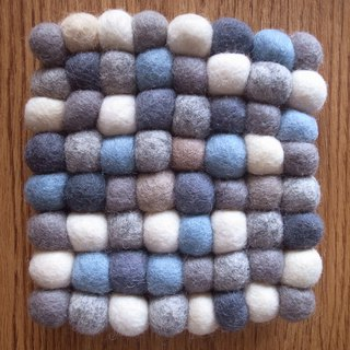 Potholder, Trivet, Pan Coaster, Pot holder, Felt ball Trivet Square_15cm_Grey