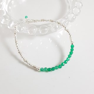 【ColorDay】 Eternal Green Agate Sterling Silver Bracelet / Green Agate / グ リ ー ン メ ノ ウ