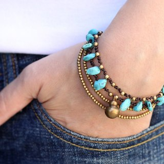 Bead Woven Bracelets Multi strand Turquoise Layer Chains