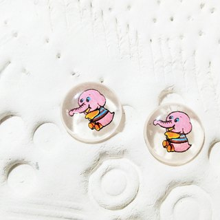 Pink Elephant Transparent Child Earrings / Clip / Needle