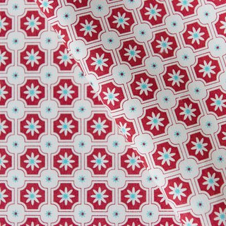 Hand-Printed Cotton Canvas - 250g/y / Old Ceramic Tile No.2 / Rose Red