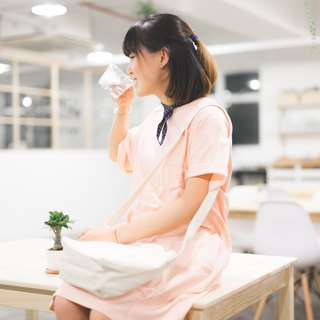 Honey Floral Series / Peach Pink / Floral Scarf Short Sleeve T-Shirt Dress