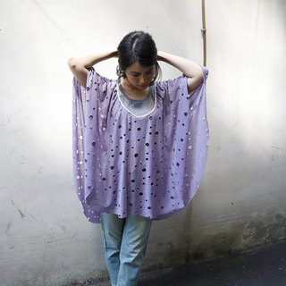 Early autumn round neck variegated hole cloak - 藕 purple (can be used as a cloak, blouse, scarf, dress)