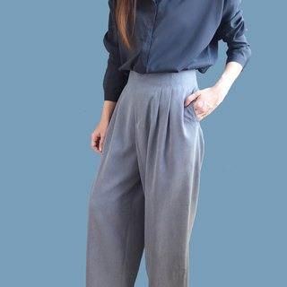 High waist pleated personality wide pants - gray blue