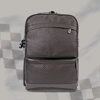 Free shipping I AM-pen battery backpack-coffee/grey leather