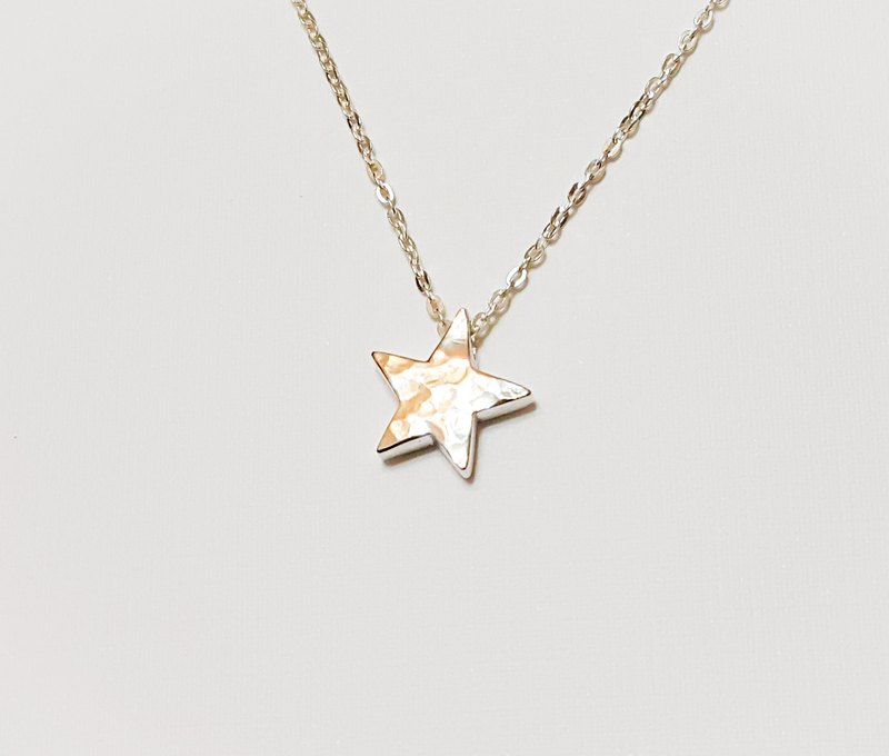 Star Silver Necklace - Hand knock forging texture (two-worn - the pros and cons of different textures) / clavicle chain / bracelet / gift / Valentine's Day / Memorial Day