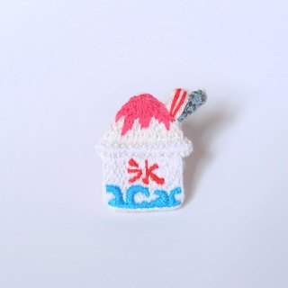 Dessert Series I Japanese Shaving Ice (Strawberry Taste) Embroidered Heart Pins Needle Brooch Pins