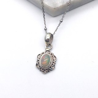 Opal 925 sterling silver lace necklace handmade mosaic in Nepal