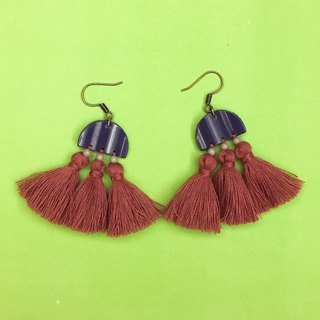 Geometry x tassel earrings purple x red lotus ear hook / ear clip