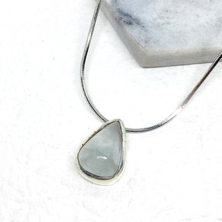 Seawater Sapphire 925 sterling silver minimalist trim necklace Nepal handmade mosaic production (style 2)