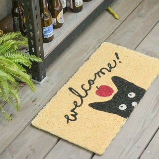 Little Watchers - Apple Black Cat Outdoor Mat (Natural)