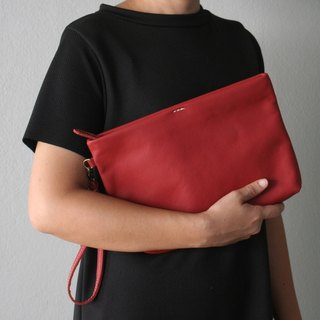 Simple Leather Wristlet Clutch Bag / Red Leather Purse
