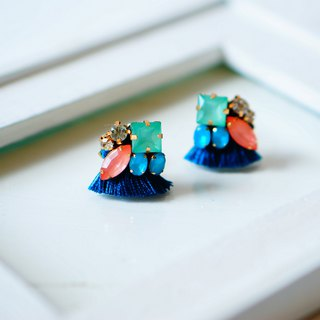 silk and Bijou Earrings/Clip-ons パシフィックブルー