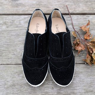 British adventure personalized carved casual shoes black