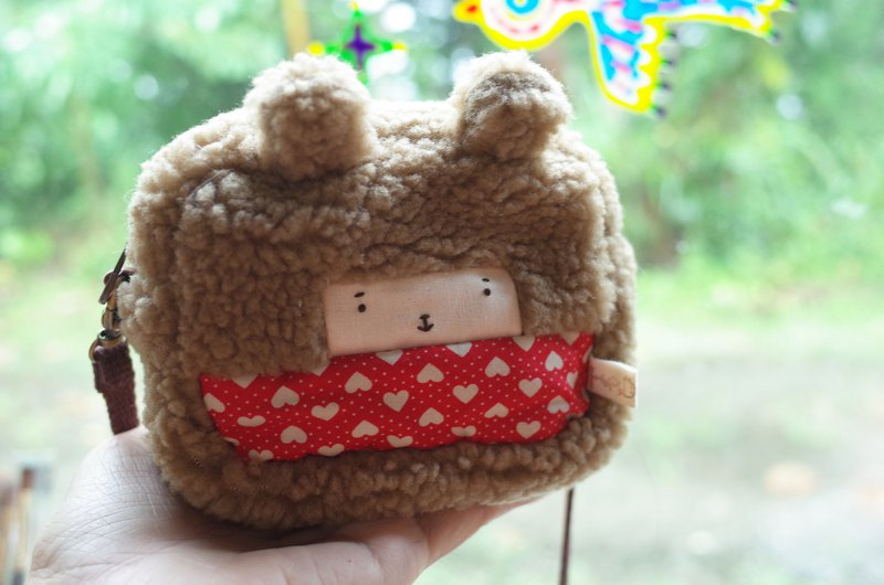 Little rabbit small bag - coffee hair - red love - 2019059