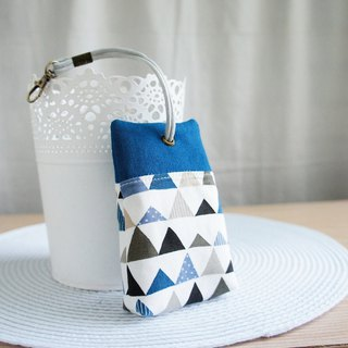 Lovely [Japanese cloth] blue triangle palm house zipper key case, key cover, ID card