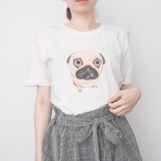 White t-shirt pug hand-painted Pingi colorart