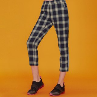 UNISEX PLAID CASUAL PANTS / Blue/Cream