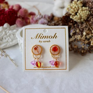 Orange Pressed Flower Earrings with Tiny Beads