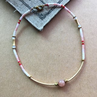 ~ Rice + Bear ~ Strawberry Milk Strawberry Crystal Copper Bend Brass & Natural Stone & Japanese Beads / Anklets / Bracelets