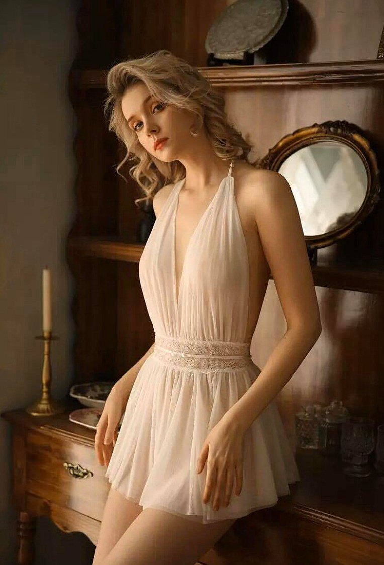 Style Sexy Lingerie Deep V-neck Nightdress