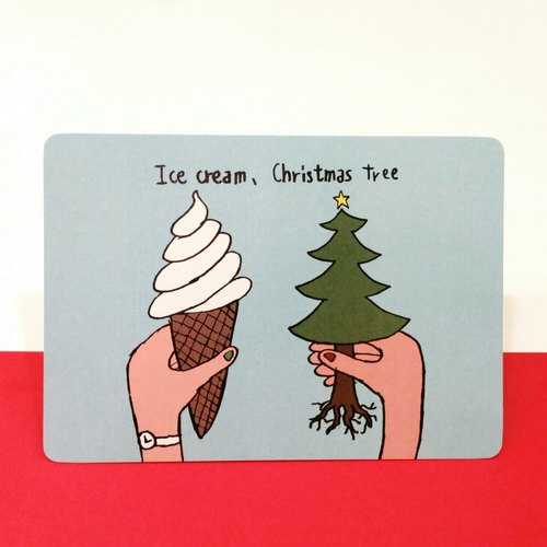 Ice cream, Christmas tree / Christmas Postcard