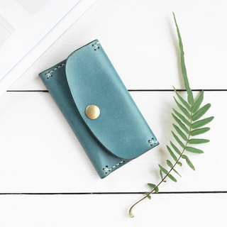 Rustic marine blue hand dyed yak leather handmade business card holder