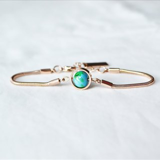 Baby Blue Earth bracelet --  rose gold