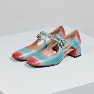H THREE classic square Marie Jane shoes / water blue rose red / gradient / pink beach / rough with / retro