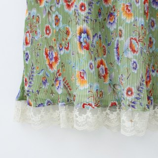 [RE0831D844] autumn green retro print dress vintage lace collar