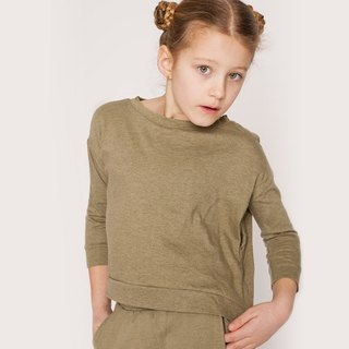 Nordic children's wear organic cotton long-sleeved shirt shape olive green
