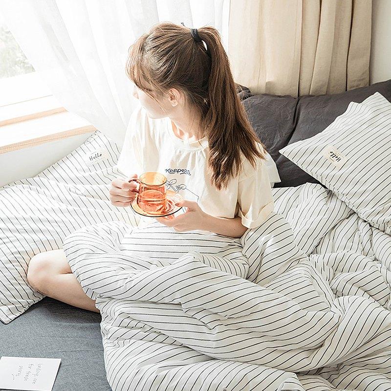 條紋白 水洗棉 標準雙人四件組床包(台灣尺寸)