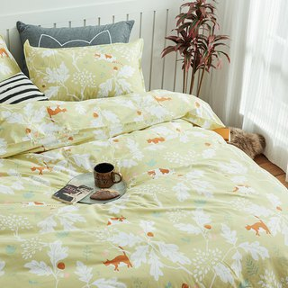 Gold rubber pillowcase + quilt cover two-piece single double original hand-painted cat 40 cotton bed package optional