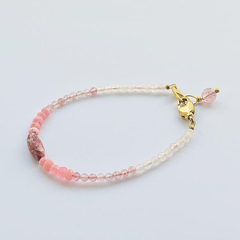 【漁夫和他的妻子】粉色水晶・草莓晶・紅紋石・豹紋石 手環