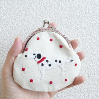 Embroidery mini sprinkle Dalmatian White Mizutamama X pink gold with tassel