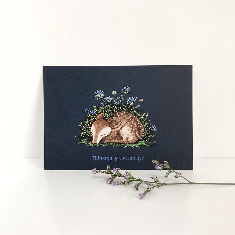 Sleeping Deer Postcard - Thinking of you always