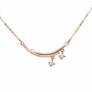 [Lalune] 925 sterling silver light in the dark 2 rose gold double arc clavicle chain
