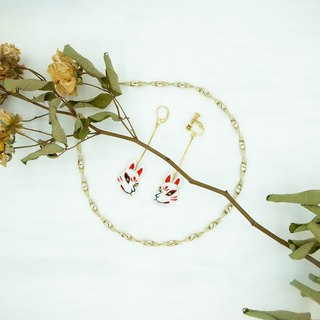 Fox face handmade embroidered earrings