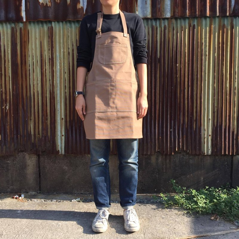New Brown Canvas Apron no.02 Copper rivets 2 pockets / garden / barista