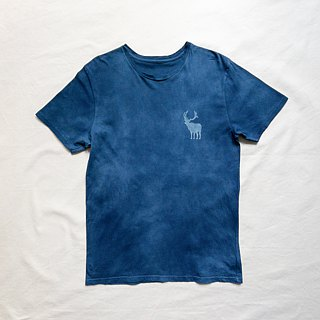 受注製作 Indigo dyed 藍染 organic cotton - BEER HUNTER TEE