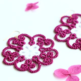 Tatting lace flower pierced earrings red-14 kgf
