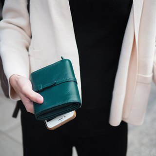 Charlotte: Mini wallet, Leather wallet, Green wallet, folded wallet