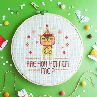Cross Stitch KIT - Are You Kitten Me?