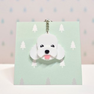 White Poodle - Keyring - Pet Accessories - Pet Charm - Hairy Kids - Gifts - Custom - Acrylic - BU