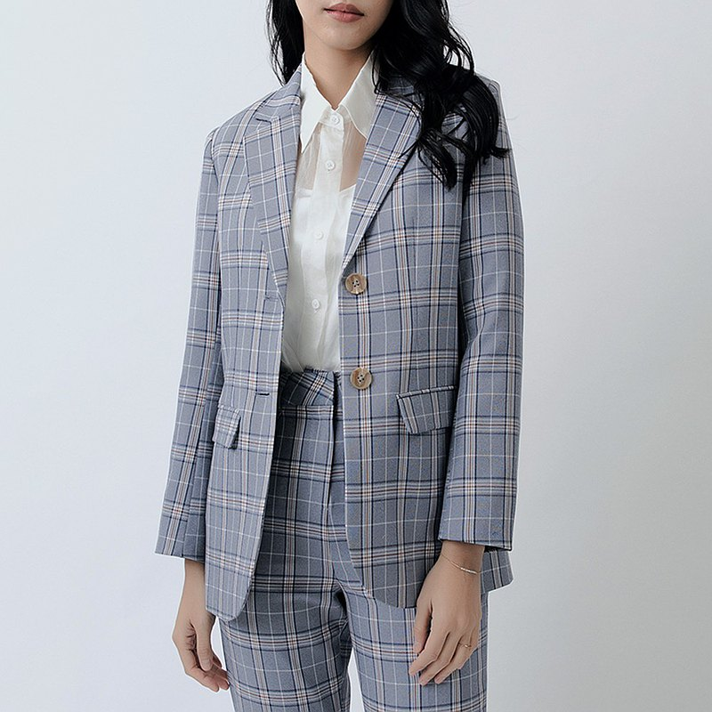 Columbia check large pocket long blazer