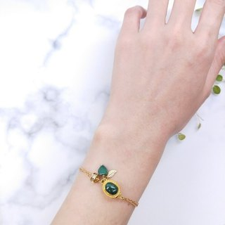 wristband. Malachite Love* Leaf Blade Zircon Brass Double Bracelet