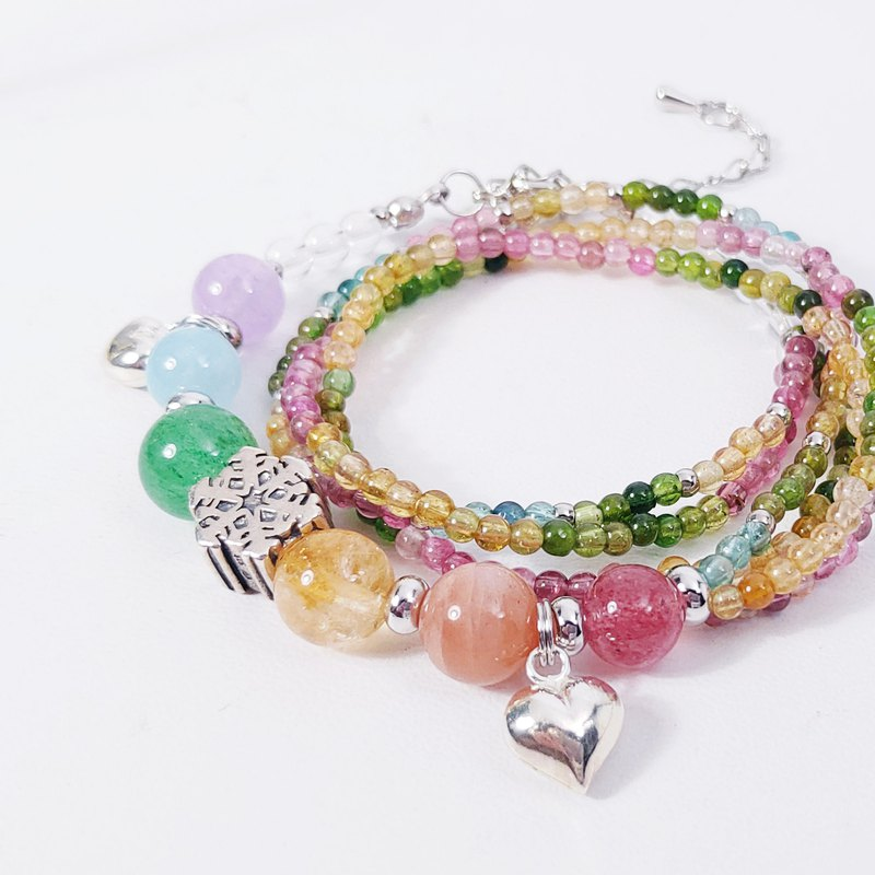 Natural Gem Christmas Snow Tourmaline Rainbow Energy 2 Circle Bracelet Limited 2 Gay Gifts