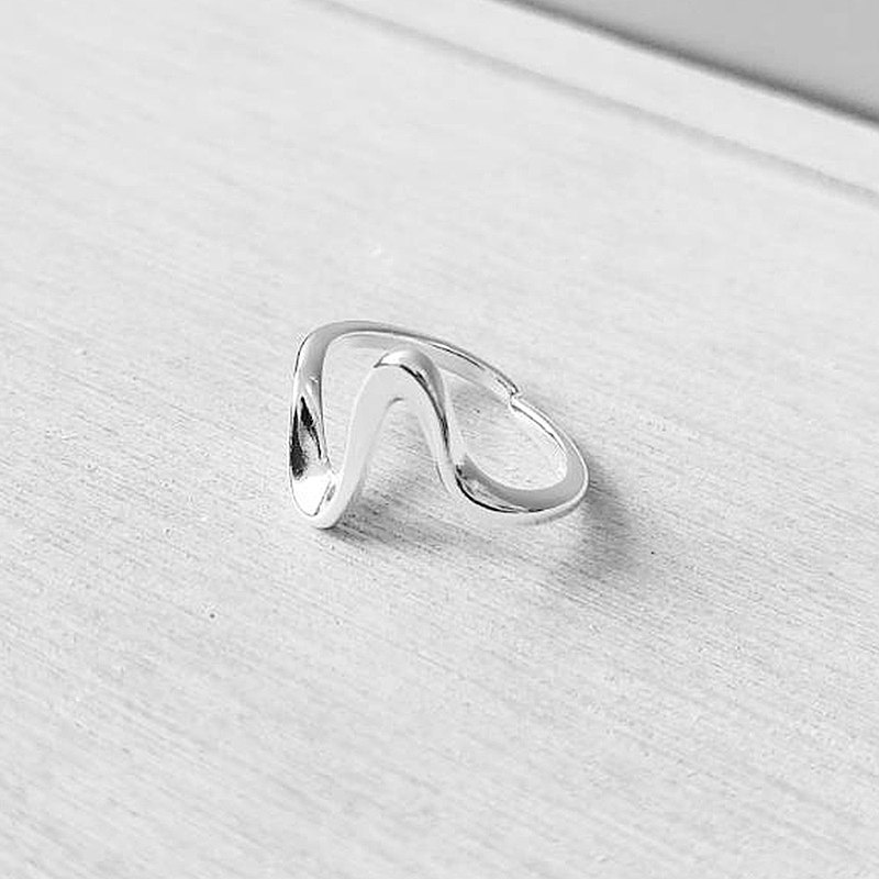 Curved shape 925 sterling silver ring (shine simple style) for men and women